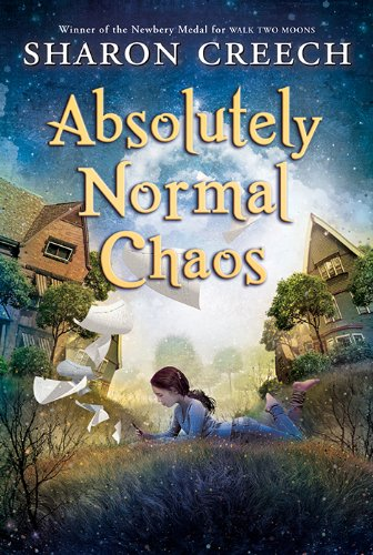 Absolutely Normal Chaos (Amazon link) with a girl in the grass between two big houses.
