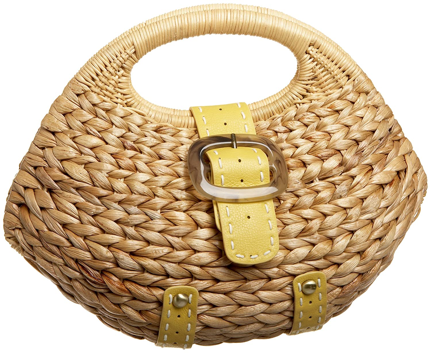SR SQUARED by Sondra Roberts Straw Satchel - Free Overnight Shipping & Return Shipping: Endless.com :  frame lined yellow bag