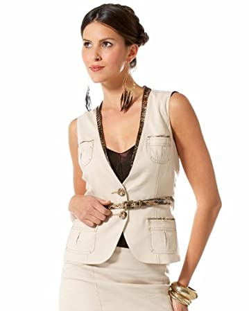Snake Trim Collarless Vest