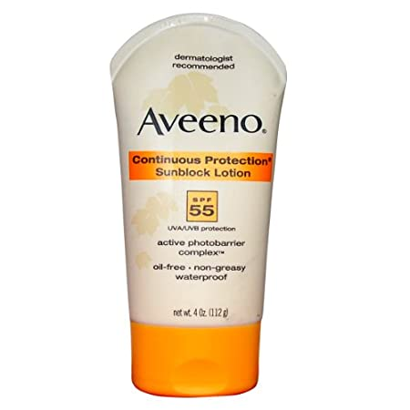 Aveeno Continuous Protection Sunblock Body Lotion Spf 55 &#8211; 4 Oz.