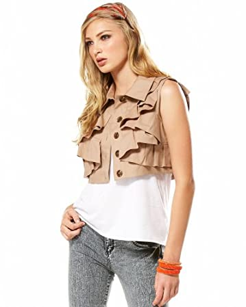 bebe Architect Angled Vest :  cropped beige safari architectural