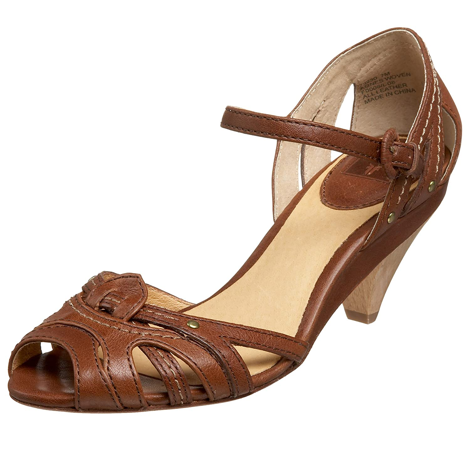 FRYE Women's Agnes Ankle Strap Heel - Free Overnight Shipping & Return Shipping: Endless.com :  leather buckle mid-heel retro
