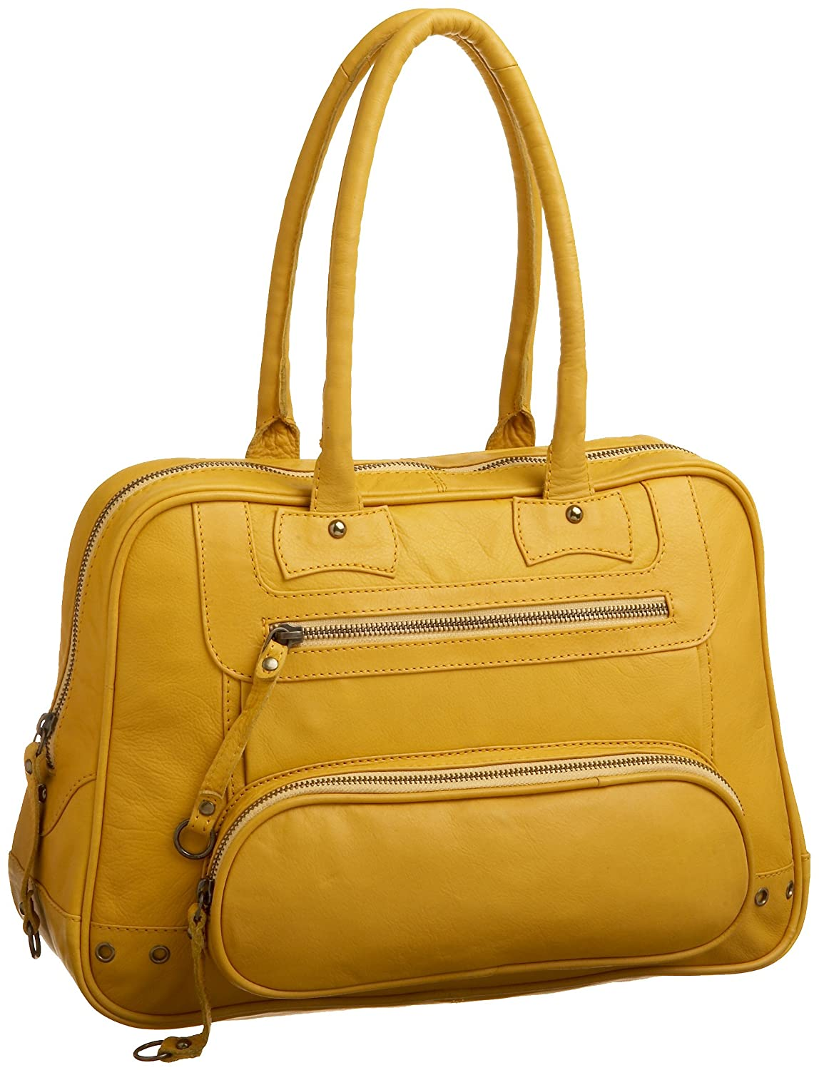Latico Nappa Solid Front Pouch E/W Shoulder Bag - Free Overnight Shipping & Return Shipping: Endless.com :  zippers pockets lined yellow