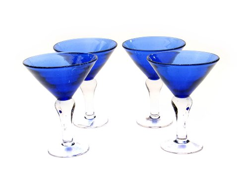 Certified International Cobalt Bubble 8-ounce Martini ,Set of 4