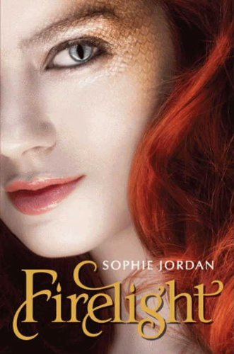 Book Firelight Sophie Jordan a close up of a girl's face with the skin around her eye scaled like a dragon, and a cat-style pupil with points at top and bottom.