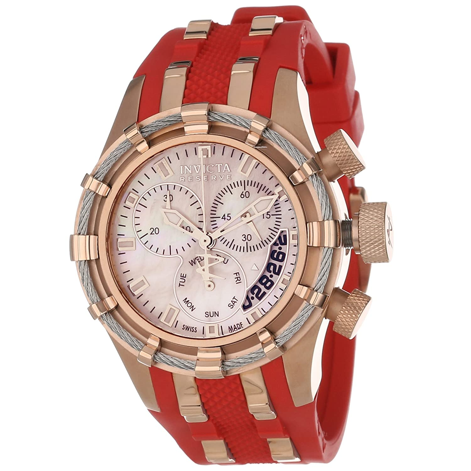 Invicta Reserve Collection Bolt Chronograph Red Polyurethane Watch from endless.com