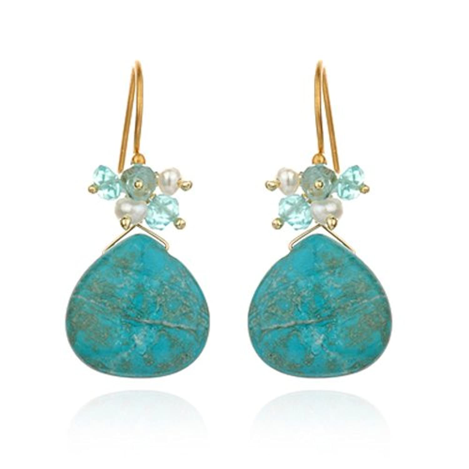 Satya Jewelry - Captivation Earring with Turquoise Drop Multi Stone Accent