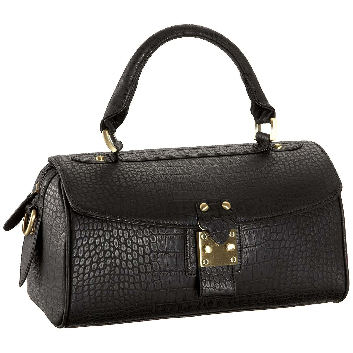 High Fashion Handbags - Croc-Embossed Satchel