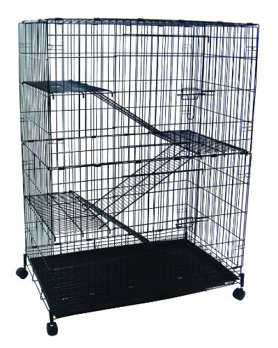 YML 4-Level Small Animal Chichilla Cat Ferret Cage, Black