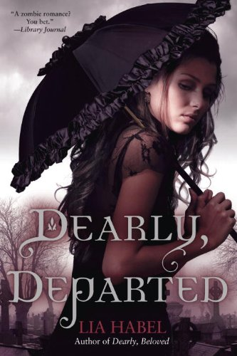 Book Dearly, Departed - a woman with a dark ruffly parasol and a dark dress looking over her shoulder in what seems to be a cemetary