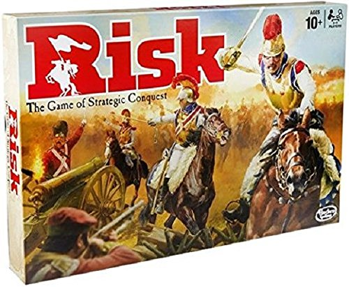Cover Art shows fighters battling with cannons, swords, and horses. Cover text says Risk: the game of strategic conquest. Ages 10+, 2-6 players