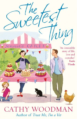 BookThe Sweetest thing - cartoon cover of super slim woman selling cupcakes at a stand