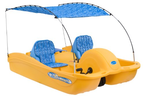 Yellow and Blue Pedal Boat, where you sit and pedal with your feet, and a small crank turns paddles under the boat to make it go. They are surprisingly expensive!