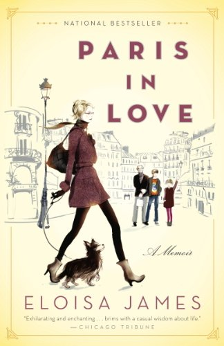 Book Paris in Love - an illustration of Eloisa James walking around Paris with her husband and kids and dog in the background.