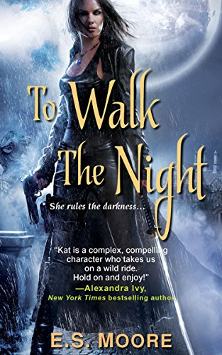 Book To Walk the Night a woman in a long black leather trench carrying a gun and a sword hilt.