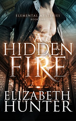 A Hidden Fire - a bare chested dude with library stacks in the background.