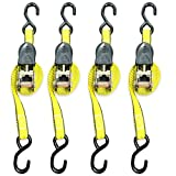 Everest Premium Ratchet Tie Down – 4 PK – 1 IN – 15 FT – 500 LBS Working Load – 1500 LBS Break Strength – Cambuckle Alternative – Cargo Straps Perfect for Moving Appliances, Lawn Equipment and Motorcycles