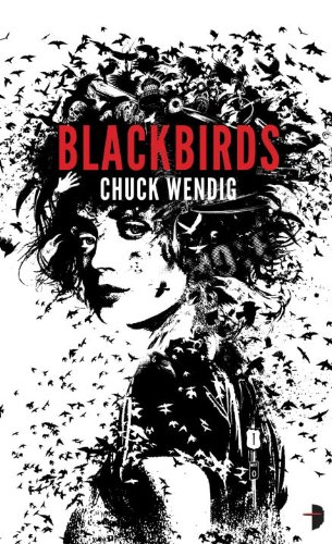 Book  Blackbirds a black and white drawing of a woman, and her hair is made up of many many birds.