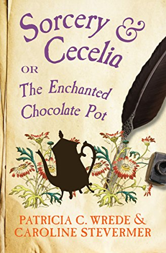 Sorcery and Cecelia - ebook cover (a pot of ink and quill on a parchment background)