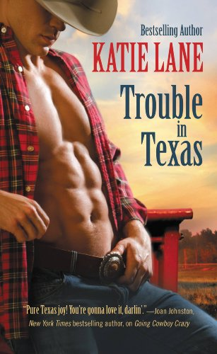 Book Trouble in Texas - a dude with huge ab muscles and his shirt open of course looking down while slighty pulling his belt buckle away from his waist like he's peeking ot see if it's still there
