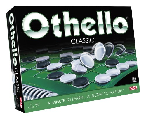 Cover Art show various doublesided round tokens. One side is white and one is black. Tex says: Othello classic. 2 players. Age 7+ . A minute to learn...a lifetime to master!