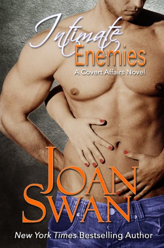 Book Joan Swan Intimate Enemies - a muscular dude with a woman's hands on his belly from behind - looks like they are his very small hands