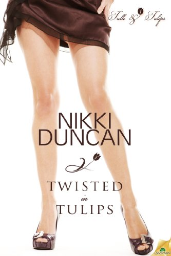 Twisted in Tulips: a woman in a short brown skirt from the hips down.
