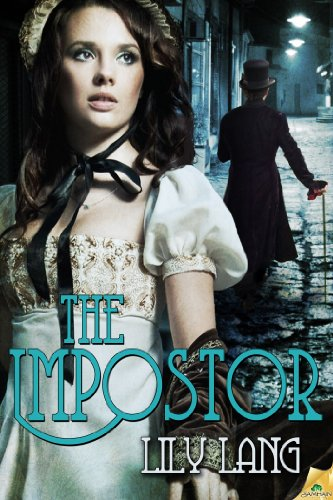 The IMpostor by Lily Lang - a close up of a woman in historical garb and a man walking away from her in the background