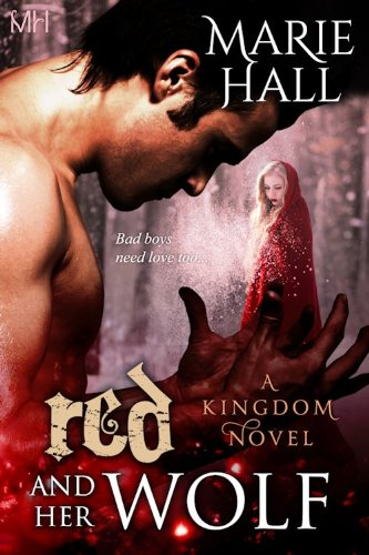 Book Muscular guy looking at hands with his fingers flexed, this one with a red hooded girl coming out of his hands