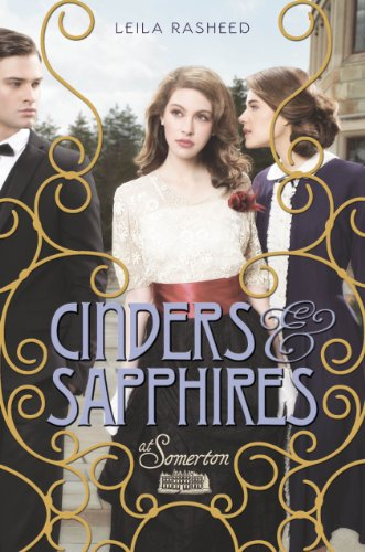 Book Cinders and Sapphires - two men in period dress walking with a woman between them and she looks really...pouty.