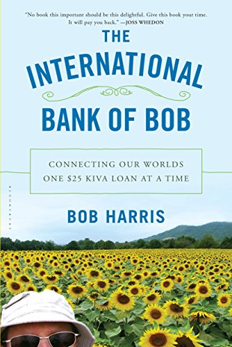 Book The international bank of Bob - a tiny bit of a man's head and hat like he's taking a selfie against a field of sunflowers