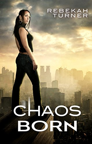 Chaos Born - a woman without a head in shiny patent leather standing on top of a building with the city behind her.