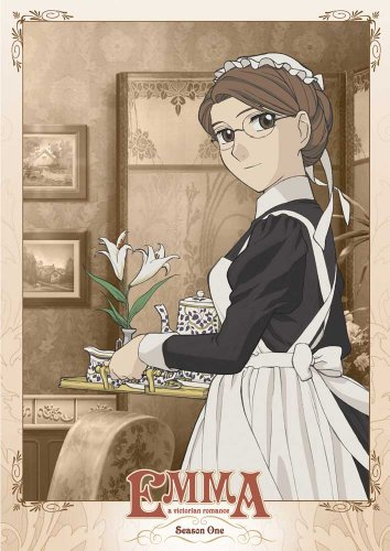 DVD Emma - anime character of housemaid with brown hair, curly cap, and large brown eyes with glasses