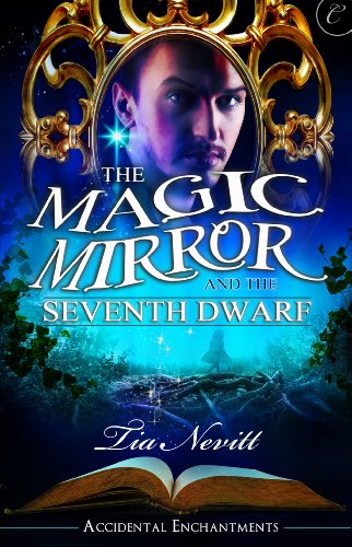 Book The Magic Mirror and the 7th Dwarf, a dude looking through a mirror with a book and a blue hazy landscape beneath