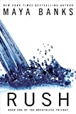Rush is a cascade of blue water on a white background
