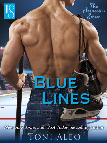 Book Cover for Blue Lines by Toni Aleo with shirtless guy with his back to the reader, One of his shoulder muscles is bent in a way that looks like an alien is about to eat a football.