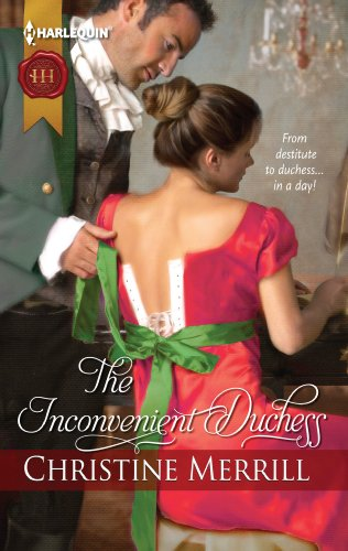 Book An inconvenient duchess: a woman in a bright pink dress with a green sash seated at a piano - with a man lifting the drape of her sash - both in period costume