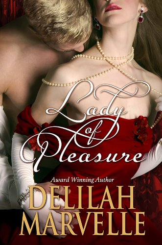 Book Lady of Pleasure - a woman in a dark red off the shoulder dress with a man behind her