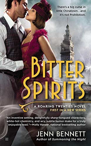 Book Bitter Spirits - a roman in a burgundy headband and flapper dress embracing a dude in a vest