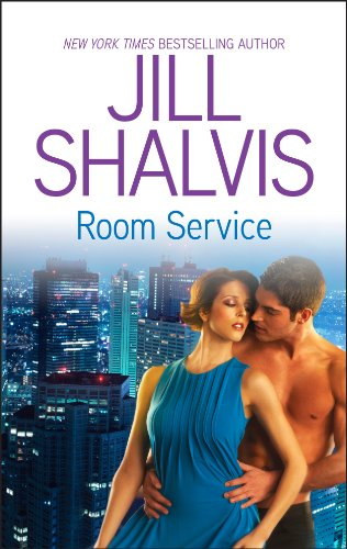 Book Room Service a woman in a drapey blue dress being embraced from behind by a shirtless dude