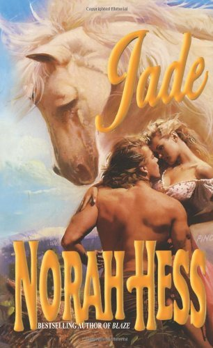 Jade by Norah Hess. A shirtless man and a woman whose dress is falling off are embracing. There is a very large horse head hovering above them.