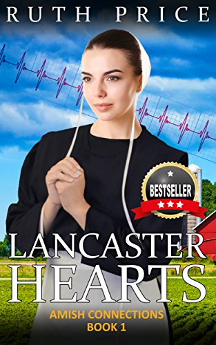 Book photoshopped image of Amish woman with big sparkly star bands coming out of her hat plus a ribbon and a big bestseller seal on it. it's a hot mess.