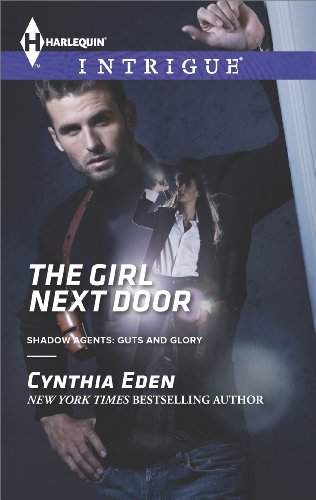 Book The Girl next Door - a dude in a dark shirt leaning one arm against a door frame -and there's a woman superimposed over his left pec and shoulder kind of like she's growing out of his armpit.