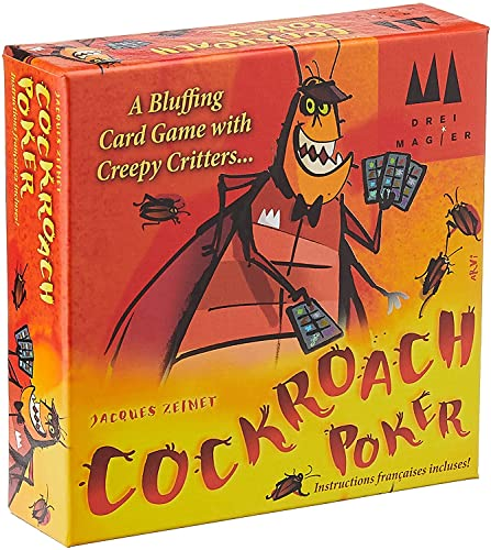 Cover Art shows a stylized roach with a poker hat dealing cards. Cover text says:  A bluffing card game with creepy critters...Cockroach Poker. Jacques Zeimet