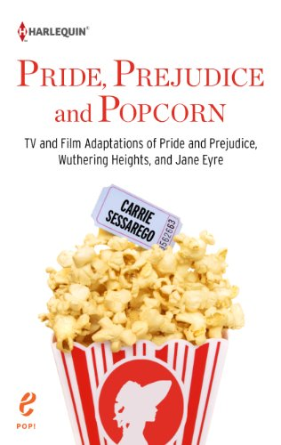 Book Pride, Prejudice and Popcorn by Carrie Sessarego - a box of popcorn with a silhouette of a woman in a bonnet on the popcorn box - very cute design