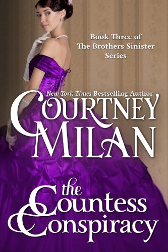 Book The Countess Conspiracy - a photograph of a woman in a purple gown with an enormous skirt and bustle looking over her shoulder touching her chin with one gloved finger.