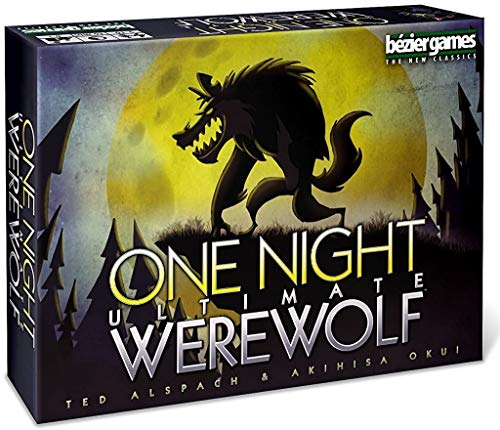 Cover Art shows a silhouette of a werewolf against a night sky. Text says: One night ultimate werewolf. Ted Alspach and Akihisa Okui