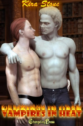 Book a poser image of a very pale almost white as in no blood in him vampire with very curly hair and strange abs looking at a smaller dude standing next to him. Small dude is wearing a speedo. no idea why