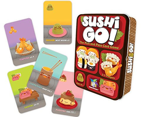 Cover Art shows 5 different cards; wasabi, tempura, chopsticks, pudding, and sashimi. The game box shows four different times of sushi. Text says Sushi Go! The pick and pass card game. 2-5 players, Ages 8+. Gamewright