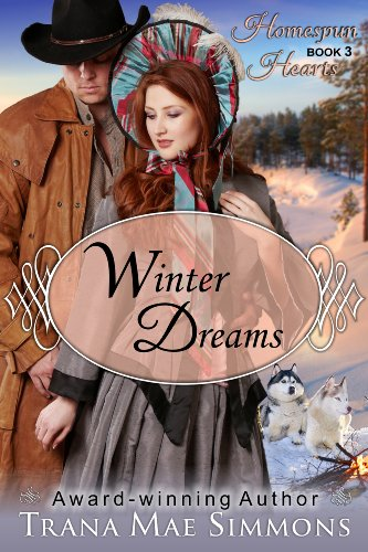 Winter Dreams by Trana Mae Simmons. A lady with a large bonnet is rebuffing the advances of some cowboy in the snow. Two puffy puppies watch on.